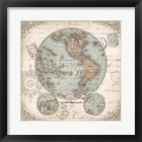 Framed World Hemispheres II