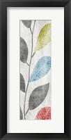Gray Red Blue Green Leaves  Mate Framed Print