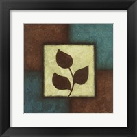 Blue Brown Green Leaves Framed Print