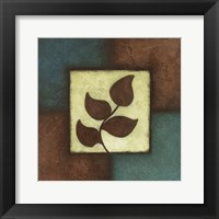 Framed Blue Brown Green Leaves Mate