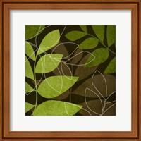 Framed Green Brown Leaves