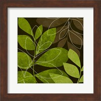 Framed Green Brown Leaves 2