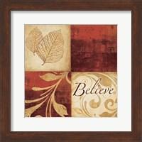 Framed Red Gold Believe