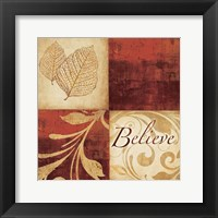 Framed Red Gold Believe