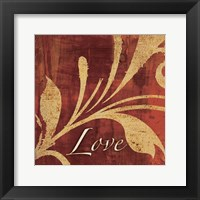 Framed Red Gold Love