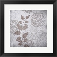 Framed Warm Gray Flowers 2