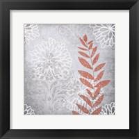 Framed Warm Gray Flowers 4