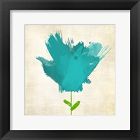 Brush Stroke Flowers Blue Mate Framed Print