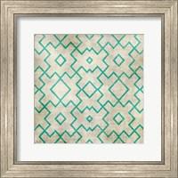 Framed Teal on Tan Pattern