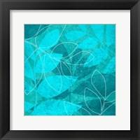 Framed Turquoise Leaves 1