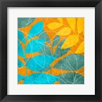 Framed Aqua Leaves 1