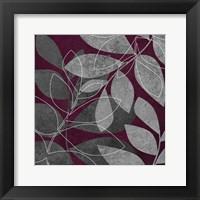 Grey Purple Leaves 2 Framed Print