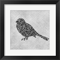 Framed Brocade Bird 1