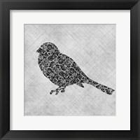 Framed Brocade Bird 1
