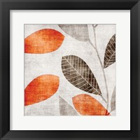 Framed Gray Orange Leaves 1