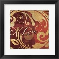 Framed Red Gold Love