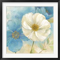 Framed Watercolor Poppies I (Blue/White)