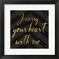 Chevron Sentiments Black/Gold I Framed Print
