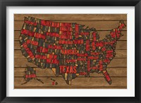Framed Printers Block US Map Red