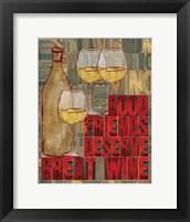 Printers Block Wine and Friends I Framed Print