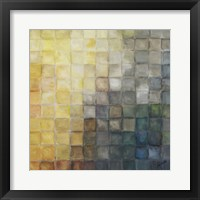 Yellow Gray Mosaics II Framed Print