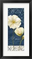 Framed Paris Poppies Navy Blue Panel I