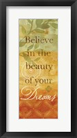 Sentiment Spice Panel I (dreams) Framed Print