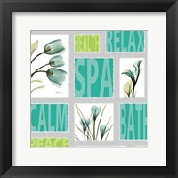 Framed Mondrian Blue Green Flowers