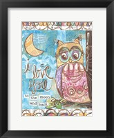 Framed Pastel Owl Family 2 To the Moon and Back