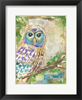 Framed Purple Blue and Gold Owls