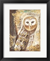 Framed Brown, Cream and Gold Owls 1
