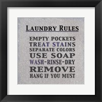 Framed Laundry Rules