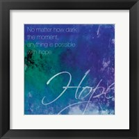 Watercolor Hope Quoted Framed Print
