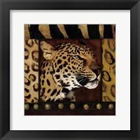 Leopard with Wild Border Framed Print