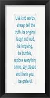 Use Kind Words Blue Framed Print