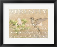 Framed Serenity Hummingbird
