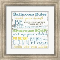 Framed Bathroom Rules Multi 1