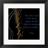 Framed Neon Square Music Quote