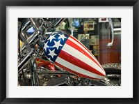 Framed Patriotic Motorcycle with Stars and Stripes
