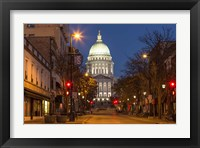 Framed Looking down State Street in downtown Madison, Wisconsin