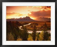 Framed Teton Range at Sunset, Grand Teton National Park, Wyoming