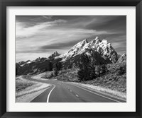 Framed Teton Park Road and Teton Range, Grand Teton National Park, Wyoming