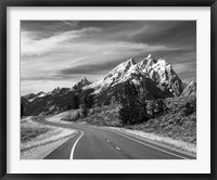 Framed Teton Park Road and Teton Range, Grand Teton National Park, Wyoming