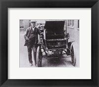 Framed Thomas Edison with his first electric car, the Edison Baker
