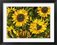 Framed Sunflowers On a Field of Green