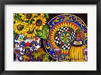Framed Vino and Sunflowers