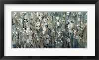 White Blooms with Navy I Framed Print