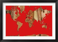 Framed Wood Bark World Map 1