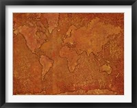 Framed World Map Rust 1