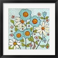 Framed Daisy Blue Flowers